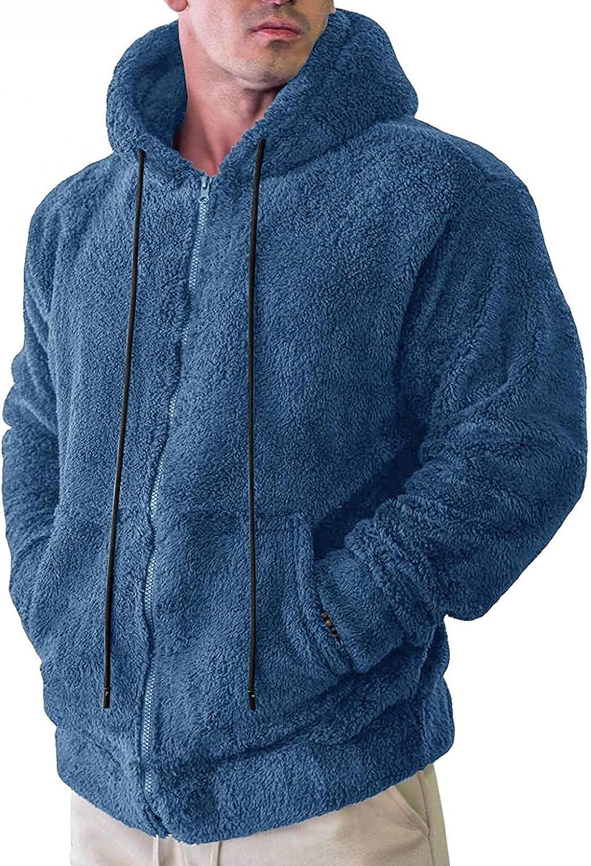 LEIYAN Mens Long Sleeve Fuzzy Hoodies Zip Up Comfy Casual Fluffy Sherpa Fleece Teddy Sweatshirt Jackets Coat with Pockets