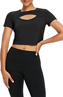 Bestisun Womens Cropped Workout Top Short Sleeve Cut Out Open Front Yoga Tee Top Athletic Gym Crop Top