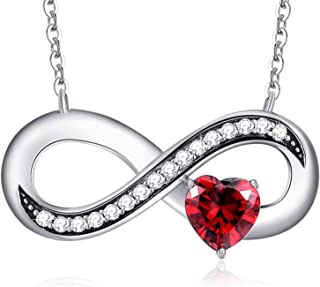 Infinity Love 925 Sterling Silver Ruby Heart Pendant Necklace Crystals from Swarovski