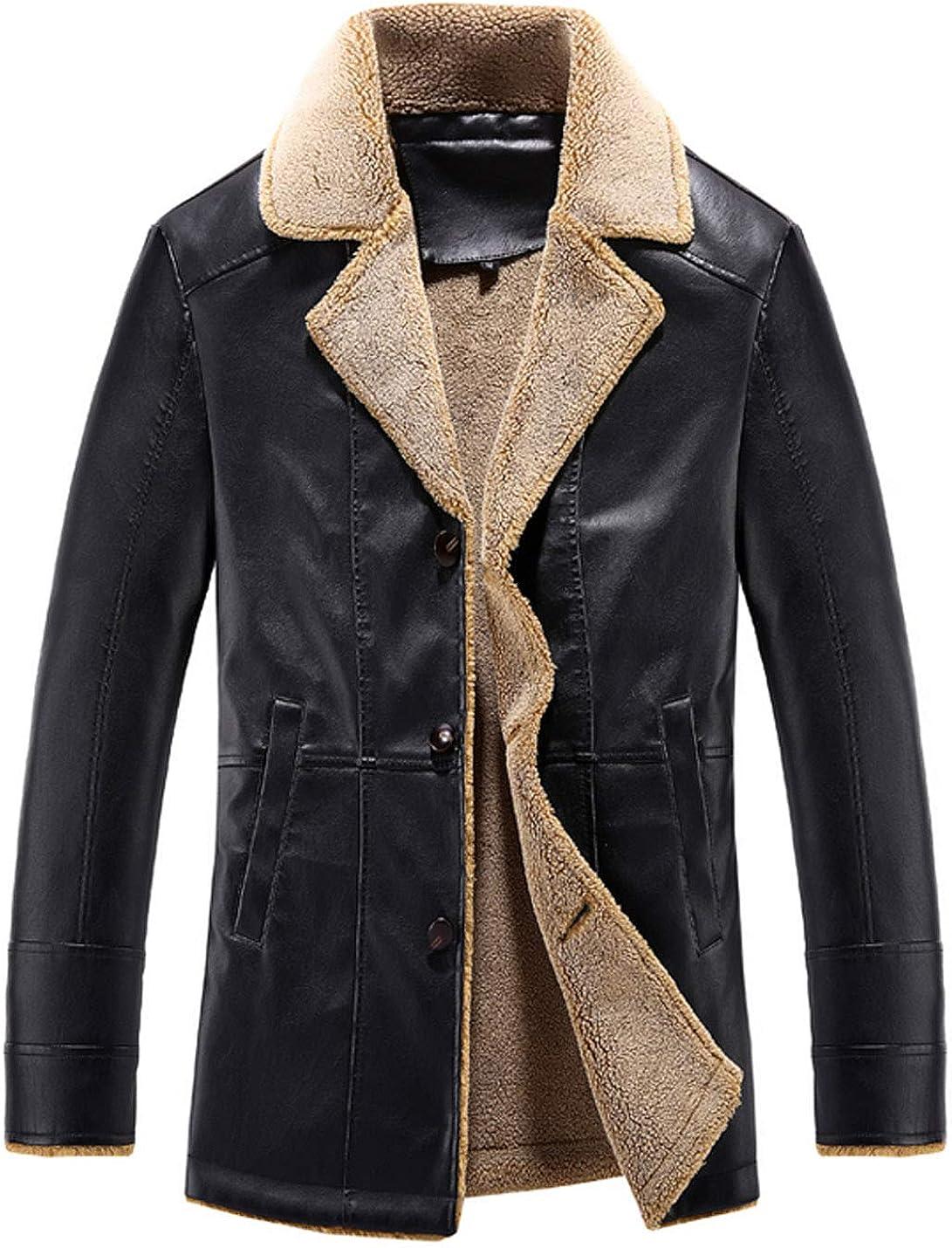 Springrain Men's Faux PU Leather Moto Sherpa Lined Shearling Winter Jacket Coat