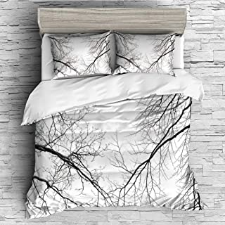 iPrint Soft Luxurious 4 Pcs Decorative Quilt Duvet Cover Set Comforter Cover Set(King Size) Forest,Trees Branches Leafless Spooky Scary Image in a Gloomy Air Sky Scene Image,Black and White