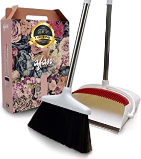 Broom and Dustpan Set by Afan - Self-Cleaning Broom...