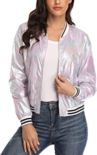 andy & natalie Women's Shiny Casual Jackets Lightweight Front Zip Holographic Glitter Metallic Bomber Jacket