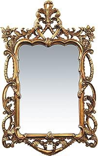Sterling Floral Scroll Mirror, Gold Leaf