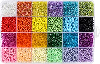 Quefe 15600pcs Glass Seed Beads 3mm 24 Colors Loose Beads Spacer Beads with 24-Grid Storage Box for Jewelry Making