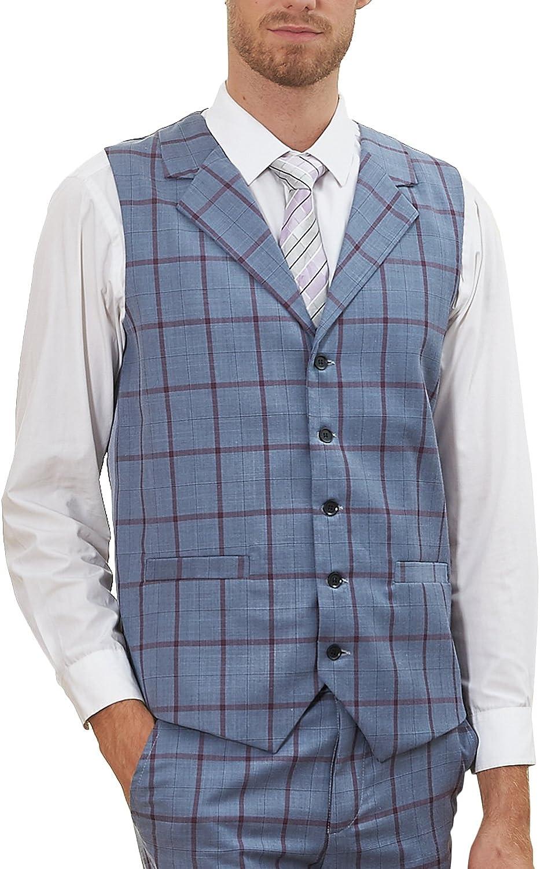 Hanayome Men's Stylish Vest Notch Lapel 5 Buttons Plaid Business Slim Fit Jacket