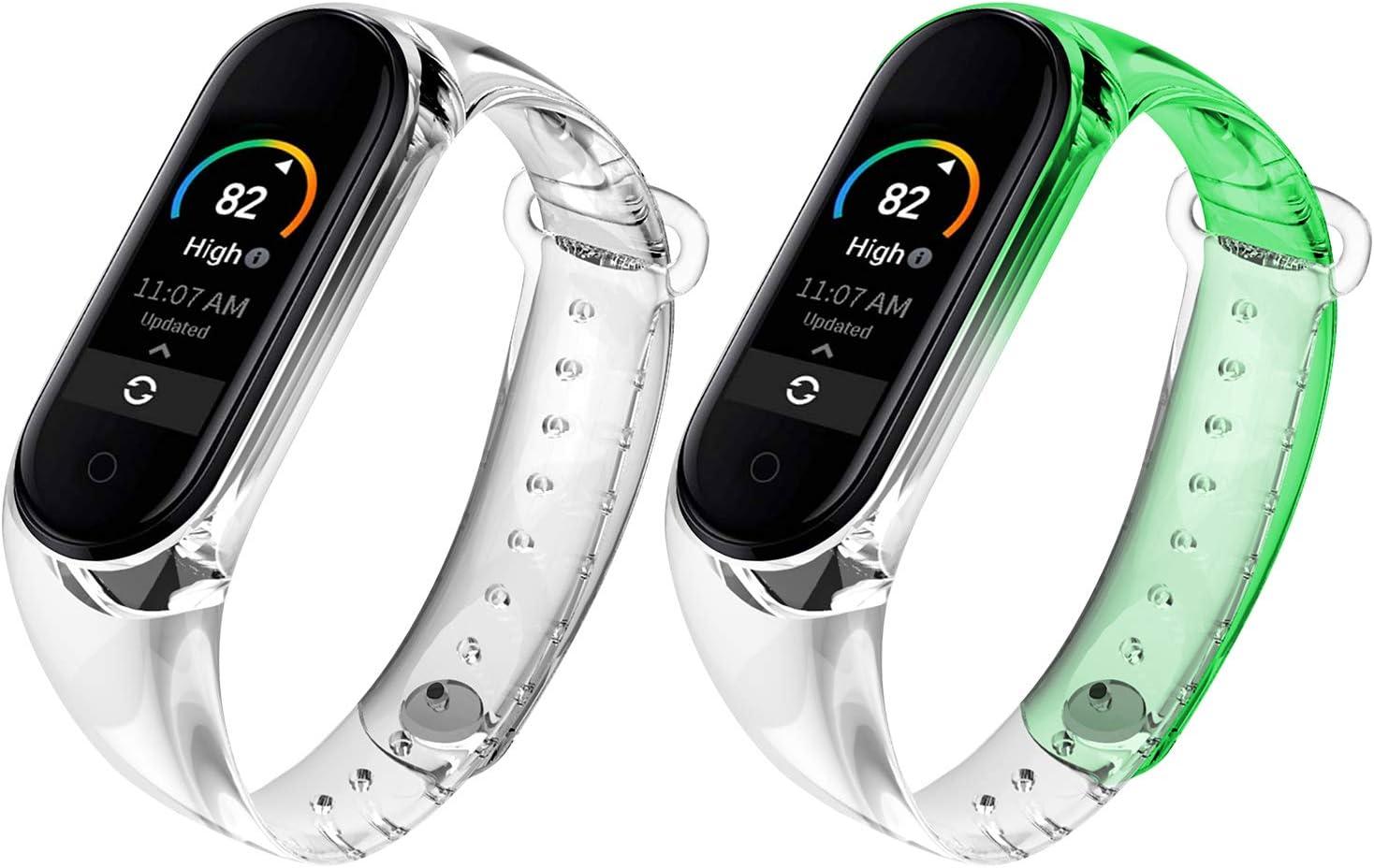 Qianyou 2 Piezas Correas para Xiaomi Mi Band 5/6 Silicona, para Band 6 Pulsera con Funda Impermeable TPU Reemplazo Colorida Reloj Banda para Xiaomi Mi Band 5/Band 6