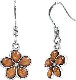 Sterling Silver Koa Wood Plumeria Hook Earrings