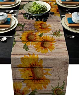 Linen Burlap Table Runner 13x90 Inches Long, Sunflower on Rustic Wood Plank Country Theme Farmhouse Table Cloth Dresser Scarf for Holiday Parties, Dining Room, Home Kitchen, Wedding Decorations