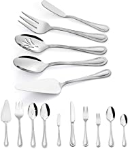 45-Piece Silverware Set with Serving Utensils, HaWare Stainless Steel Flatware Service for 8, Pearled Edge Tableware Cutle...