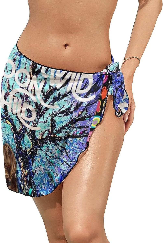 JINJUELS Women Beach Wrap Sarong Cover Up Stay Wild Girl Moon Tree Sexy Short Sheer Bikini Wraps