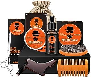 Envisha 8 in 1 Beard Grooming Kit, Ultimate Beard Kit for Men Contains Unscented Beard Oil, Beard Balm, Boar Beard Brush, Wood Beard Comb, Beard Shaping & Mustache Scissors for Trimming and Styling