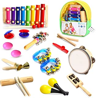 Geekper Toddler Musical Instruments, 18 Pcs Wooden Percussion Instruments Toy for Kids, Tambourine Set Kids Musical Toys Storage Backpack Included