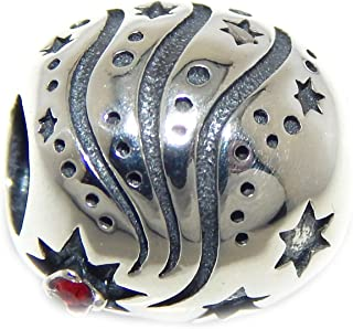 ICYROSE Solid 925 Sterling Silver Barrel with Shooting Stars and Red Crystal Charm Bead 045