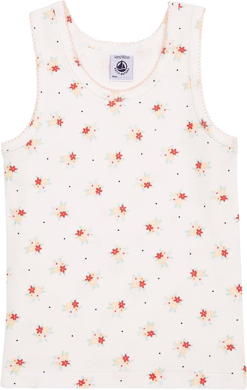 Petit Bateau Girls Underwear Sleeveless Undershirts Solid White/Flower Print Sizes 2-12 Style 12055