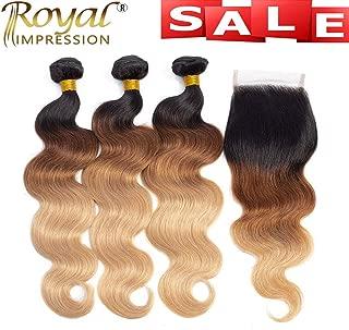 10A Ombre Brazilian Hair Bundles with Closure Ombre Body Wave Human Hair 3 Bundles with Closure Brazilian Virgin Remy 3 Tone Ombre Bundles with Closure (22