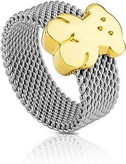 comprar comparacion Anillo TOUS Mesh en acero inoxidable con oso en oro amarillo de 18kt, Ancho: 0,7 cm, Oso 1 cm, Talla 11,5 cm