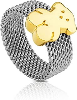 Mesh 18k Ring in Stainless Steel with Bear in 18kt Yellow Gold