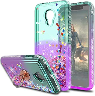 Alcatel 1X Evolve/TCL LX/Avalon V/IdealXtra 5059R Case with HD Screen Protector,KaiMai Glitter Moving Quicksand Clear Cute...