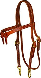 Perri's Knotted Brown Headstall With Snaps for Horse, Med Oil