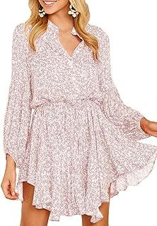 Womens Floral Button Down Mini Dress Long Sleeve V Neck Flowy Loose T Shirt Dresses