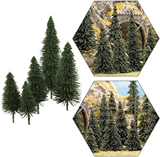 S0804 40pcs Dark Green Pine Model Cedar Trees 2.05-4.96 inch (52-126 mm) for Model Railroad Scenery Landscape Layout HO OO Scale New