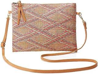Straw Shoulder Bag Summer Retro Style Beach Bag Elegant Shoulder Bag Lady Clutch Bag (Yellow) 28x21cm