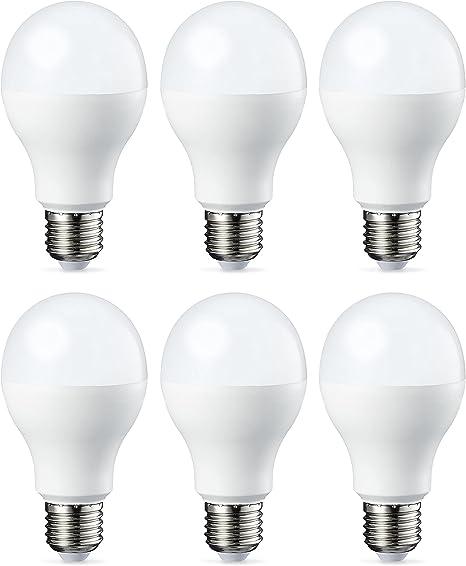 Amazon Basics Bombilla LED Esférica E27, 14W (equivalente a 100W), Blanco Cálido, Regulable - 6 unidades