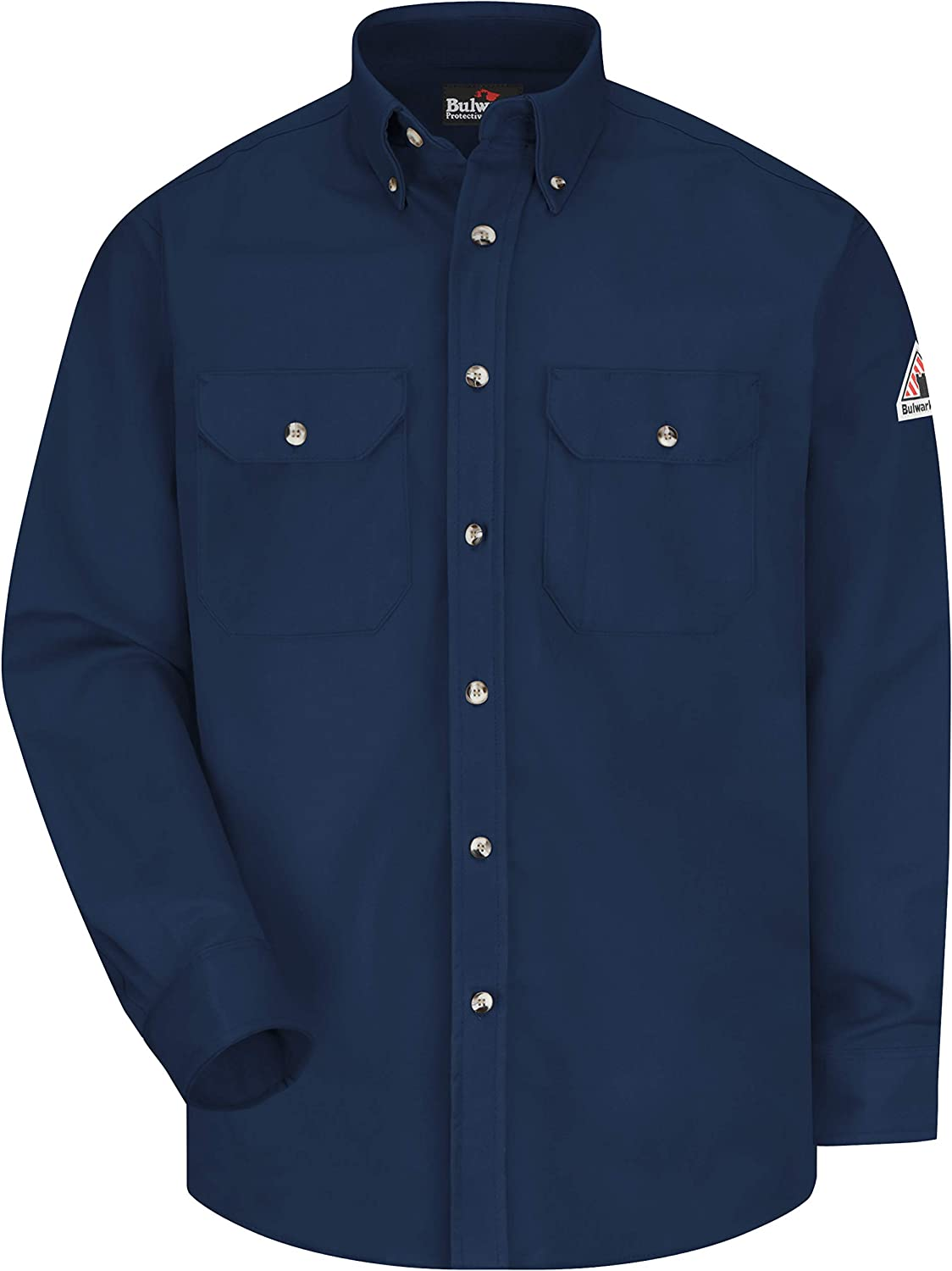 Bulwark Flame Resistant 7 oz Cotton/Nylon Excel FR ComforTouch Long Dress Uniform Shirt with Tailored Sleeve Plackets, Topstitched Cuff, Navy, Medium