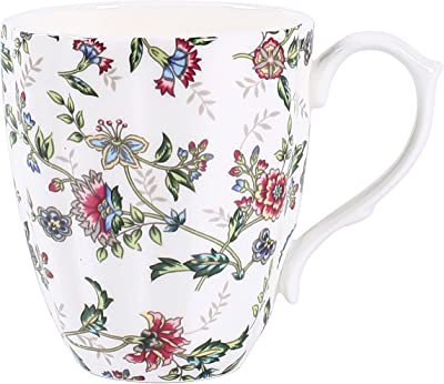 PMNING 14oz Bone China Mug Pumpkin Coffee Tea Cup Novetly Pumpkin Coffee Mug Gift for Family Friend(flower1)