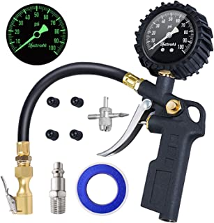 AstroAI Tire Inflator with Pressure Gauge, 100 PSI Air Chuck and Compressor Accessories Heavy Duty with Large 2.5