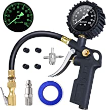 "AstroAI Tire Inflator with Pressure Gauge, 100 PSI Air Chuck and Compressor Accessories Heavy Duty with Large 2.5"" Easy Read Glow Dial, Durable Rubber Hose and Quick Connect Coupler"