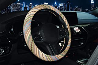 Ethnic/Bohemian Style Coarse Flax Cloth Automotive Steering Wheel Cover Anti Slip and Sweat Absorption Auto Car Wrap Cover...