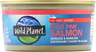 Wild Planet Wild Pink Salmon, Skinless & Boneless, No Salt Added, 3rd Party Mercury Tested, 6 Ounce