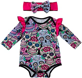 LvRao 2 PCS Baby Girls' Outfits Long Sleeve Romper Jumpsuit Bodysuit with Matching Headband Halloween Costume Set
