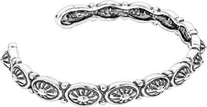 American West Sterling Silver Concha Slim Cuff Bracelet Size S, M or L