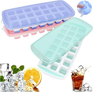 Ozera Ice Cube Trays, 3 Pack Easy Release Silicone Ice Trays with Spill-Resistant Lid, Make 63 Ice Cube, Non-toxic & BPA Free, Stackable