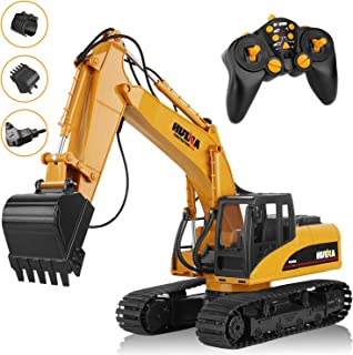 AOKESI Remote Control Excavator Toy, 16 Channel Full Functional Heavy Construction Digger Toy with 2.4G Transmitter, Three in One Accessories Excavator Truck with Realistic Sound&Light