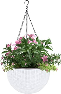 Vencer 11 Inch Round Resin Self Watering Hanging Basket,Water Indicator,Modern Decorative Planter Pot for All House Plants,White,VF-050