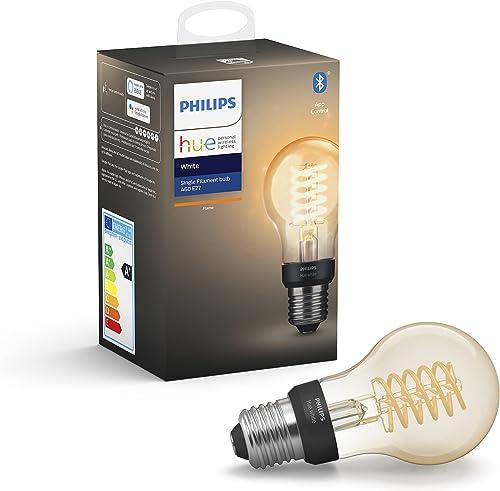 Philips Hue Ampoule LED Connectée White Filament E27 Forme Standard, Compatible Bluetooth 7 W, Fonctionne avec Alexa ...