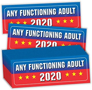 PARTH IMPEX Any Functioning Adult 2020 Bumper Stickers - (Pack of 20) 9 x 3 Large for President Election Patriotic Decals