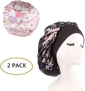 Silk Wide Band Bonnet Night Sleep Cap Sleeping Head Cover for Women Girls (Black Floral+Light Pink Floral,2 Pieces)