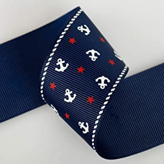 Neotrims Nautical Anchor Stars Grosgrain Petersham Ribbon 16, 25, 38mm by meter. Anchor and Stars Print Grosgrain Ruban Trim; Beautifully Soft Polyester Petersham Ribbon in 3 Widths, 16mm, 25mm and 38mm, Sold as a Set Of all 3 sizes, 3mts of each Size total 9mts in a Set. Unique! Trim, Decorate, Accessorize.