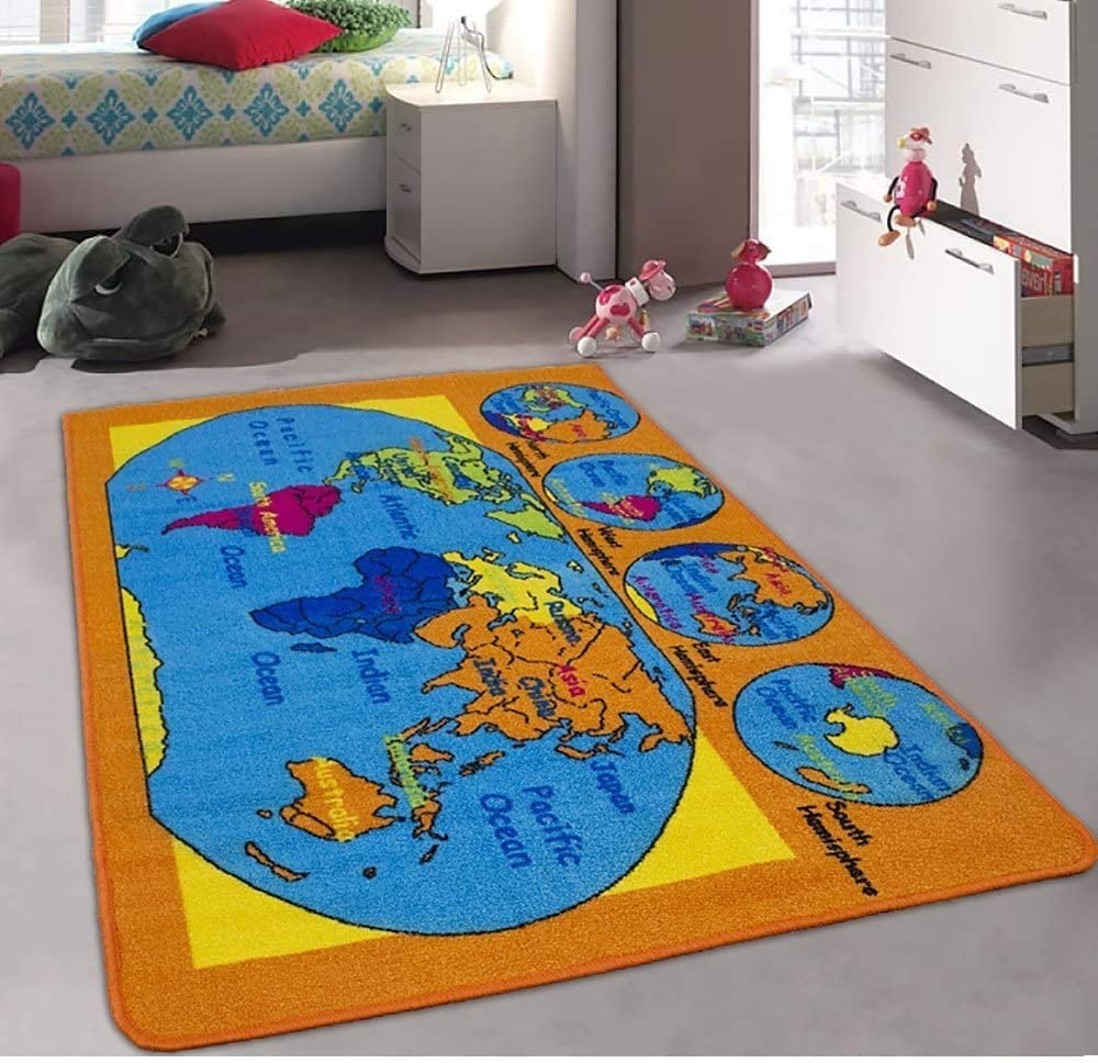 Champion Rugs Kids Area Rug Continents Globe Directly managed store World Hemispher Map shipfree