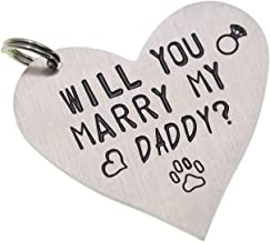 Melix Home Funny Pet Tag Will You Marry My Daddy Mom Funny Dog Tag Stainless Steel Cute Dog Collar Tag