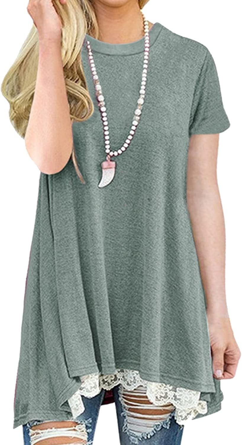 Defal Womens Summer Short Sleeve Lace Splicing Blouse High Low Hem Casual Tunic Top