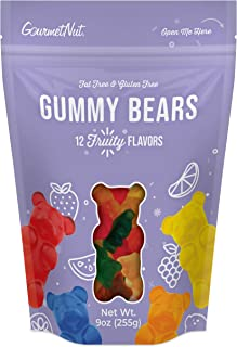 Gourmet Nut Gummy Bears Candy Vegan 12 Deliciously Fruity Flavors, 9 Oz Bag - 1 Bag