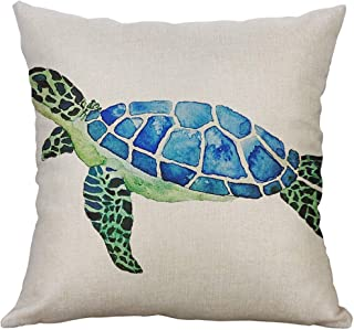 Unionm Pillow Covers Decor Throw Pillow Case Linen Blend Marine Life Turtle Crab Printed Square 50 x 50 cm 20 x 20 inch Cushion Cover for Home Sofa Car 1 Pack
