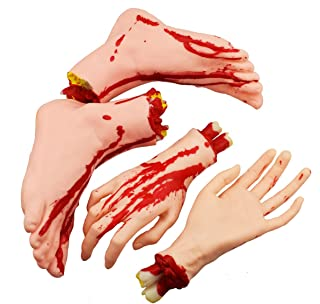 XONOR Halloween Severed Hands Feet Set Scary Bloody Broken Body Parts Halloween Props Decorations, 4 Pieces(Feet & Hands) ...