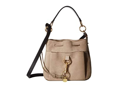 See by Chloe 11 Drawstring Leather Crossbody Bag (Motty Grey) Handbags
